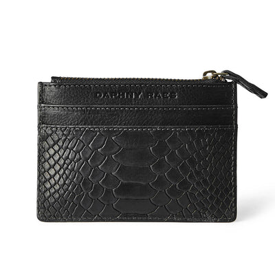 Slim black python print leather women's credit card holder with zipper DAPHNY RAES