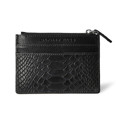 Small leather women's zipper wallet black snake print with multiple card slots DAPHNY RAES