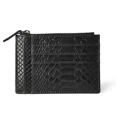Slim black python print leather women's zipper wallet with multiple card slots DAPHNY RAES