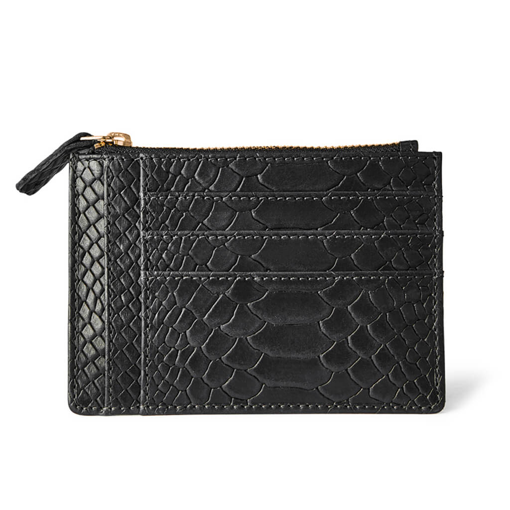 Small leather women's zipper wallet black python snake print with multiple card slots DAPHNY RAES