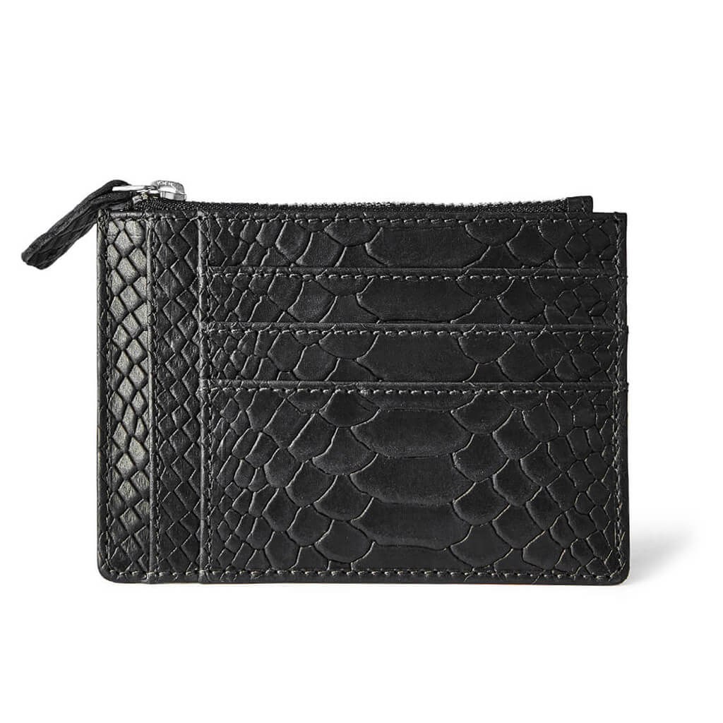 Small leather women's zipper wallet black python print with multiple card slots DAPHNY RAES