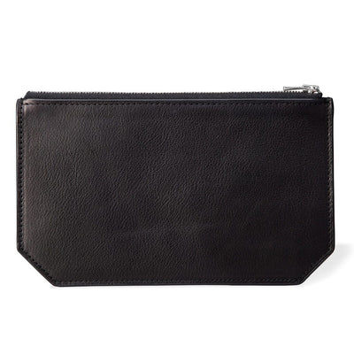 personalized black leather pouch with monogram