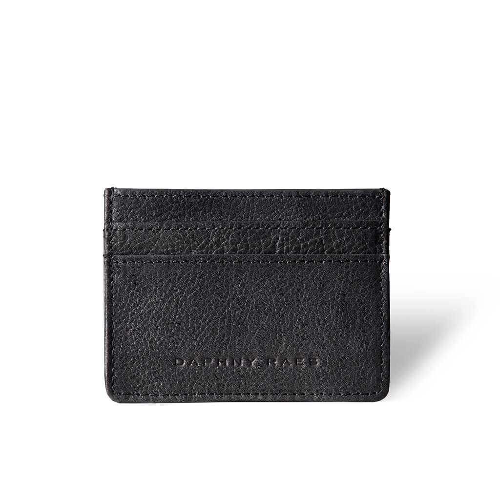 Slim black leather women's credit card holder DAPHNY RAES