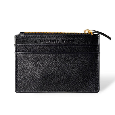 Slim black leather women's zipper wallet with multiple card slots DAPHNY RAES