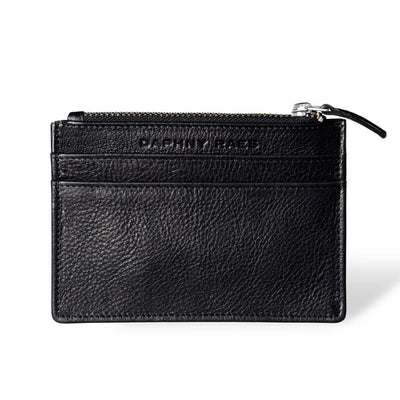Small black leather women's zipper wallet with multiple card slots DAPHNY RAES