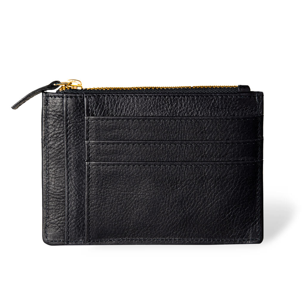 Small black leather women's zipper wallet black with multiple card slots DAPHNY RAES