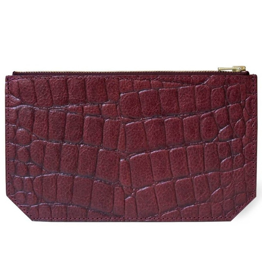 Pouch 'Lisa' burgundy croco | gold