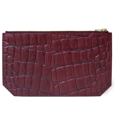 Personalized small burgundy croco print leather pouch with initials DAPHNY RAES