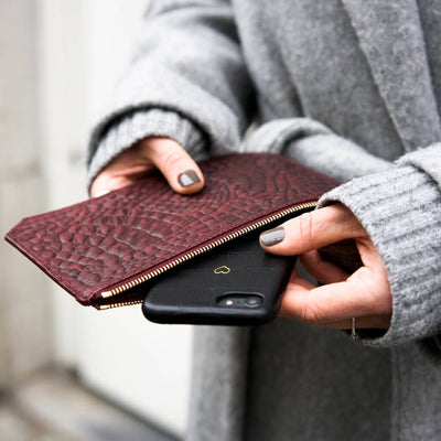 Personalized small burgundy croco print leather pouch for iPhone DAPHNY RAES