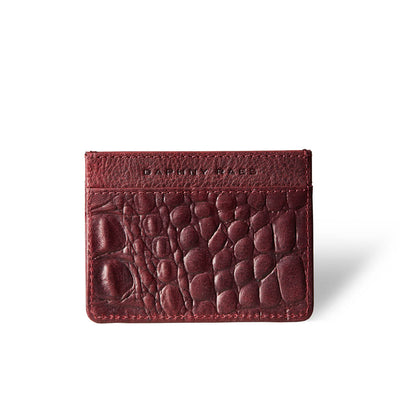Slim women's credit card holder burgundy crocodile print vegetable tanned leather DAPHNY RAES