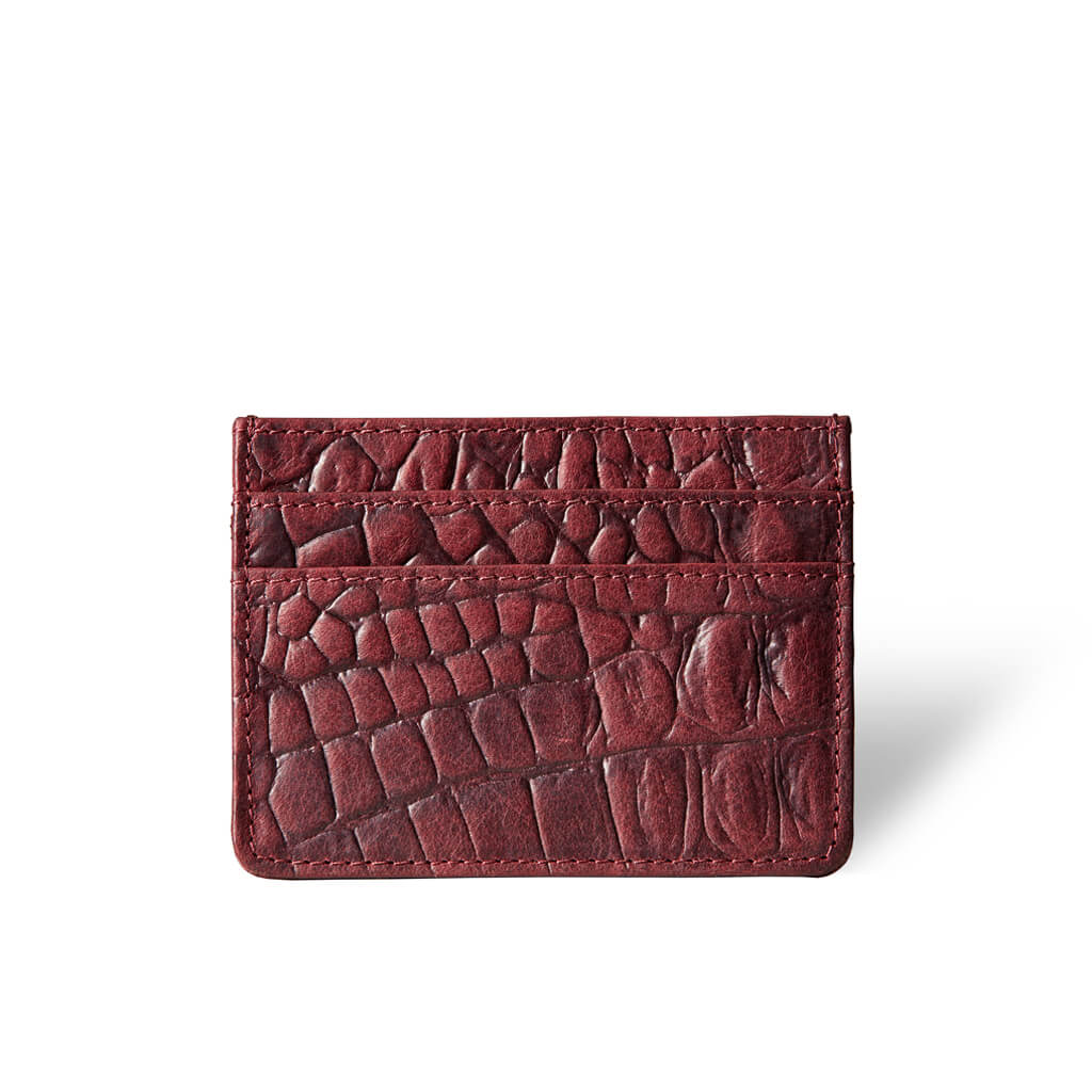 Slim women's leather credit card holder burgundy crocodile print DAPHNY RAES
