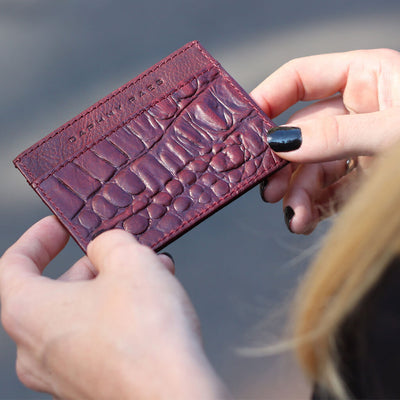 Monogrammed burgundy leather women's credit card holder with croco print DAPHNY RAES