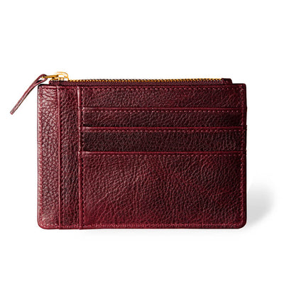 Slim burgundy leather women's zipper wallet with multiple card slots DAPHNY RAES