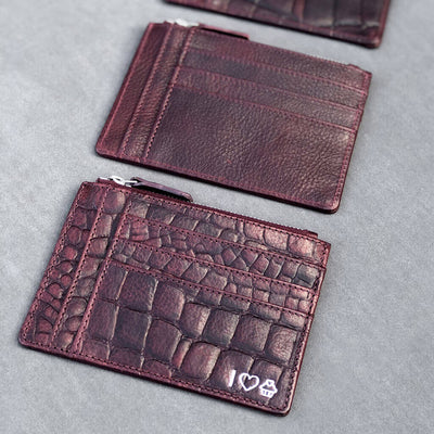 Slim personalized burgundy vegetable tanned leather women's zipper wallet with multiple card slots DAPHNY RAES
