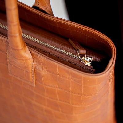 Cognac crocodile leather laptop carryall DAPHNY RAES