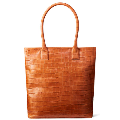 Cognac crocodile print leather laptop tote bag DAPHNY RAES