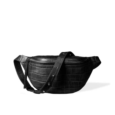 luxury small black croco leather women's fanny pack with silver zipper DAPHNY RAES