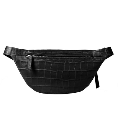 luxury small black croco leather women's waist bag with silver zipper DAPHNY RAES