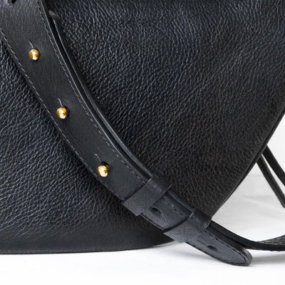 Closure of luxury black leather women's waist bag