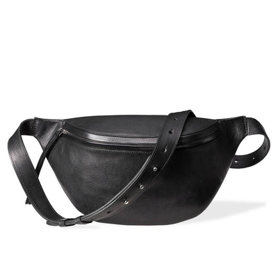 Large luxury black vegetable tanned leather women's fanny pack silver zipper DAPHNY RAES