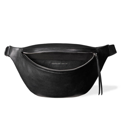 Soft lining of large black leather waist bag DAPHNY RAES