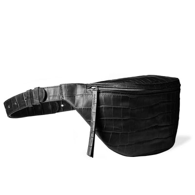 minimalist oversized black leather women's fanny pack with crocodile print DAPHNY RAES