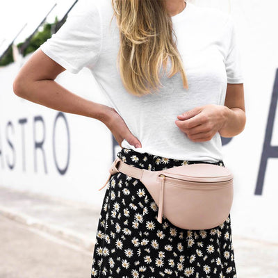 Stylish soft pink leather hip bag DAPHNY RAES
