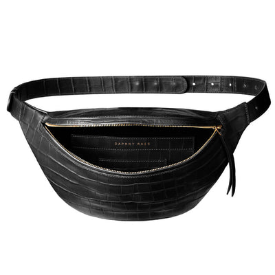 luxury small black croco leather women's fanny pack with golden zipper DAPHNY RAES