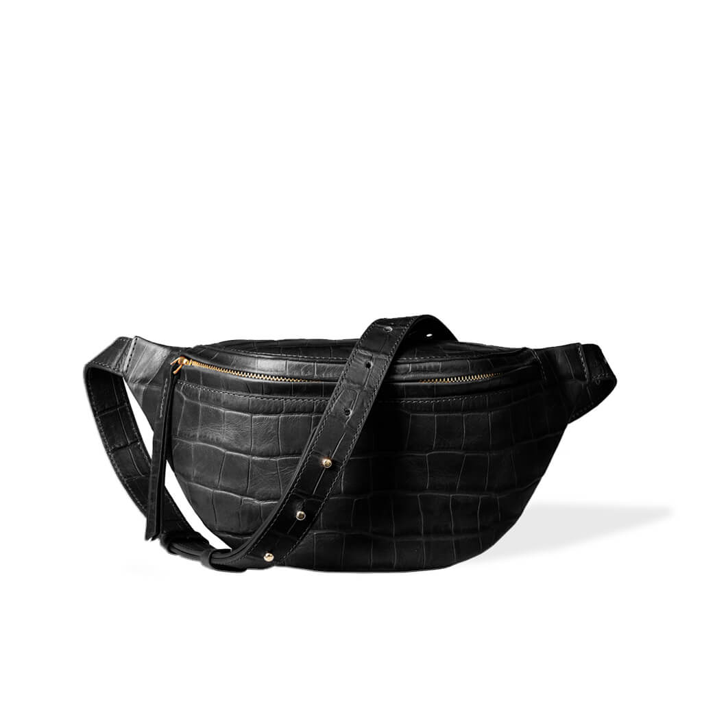 Fanny pack 'Niki' small black croco | gold