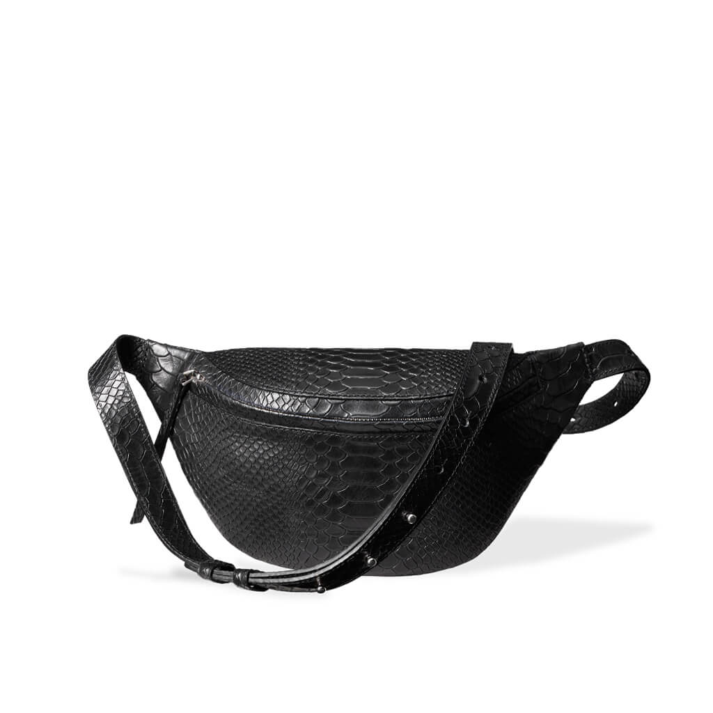 luxury small black python leather women's fanny pack with silver zipper DAPHNY RAES