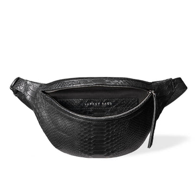 Soft lining in black python leather women's fanny pack with silver zipper DAPHNY RAES