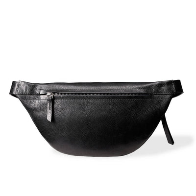Zipper pocket of small women's fanny pack black grained leather DAPHNY RAES