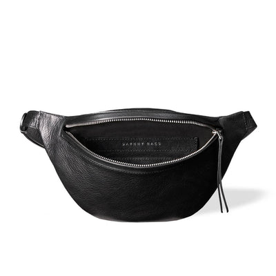 Soft lining of small women's fanny pack black grained leather DAPHNY RAES