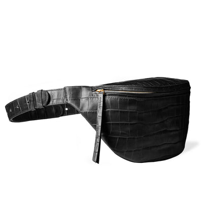 luxury large black croco leather women's fanny pack with golden zipper DAPHNY RAES