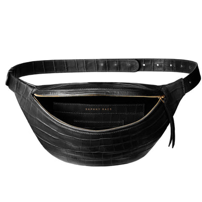 luxury large black croco leather women's fanny pack lining DAPHNY RAES