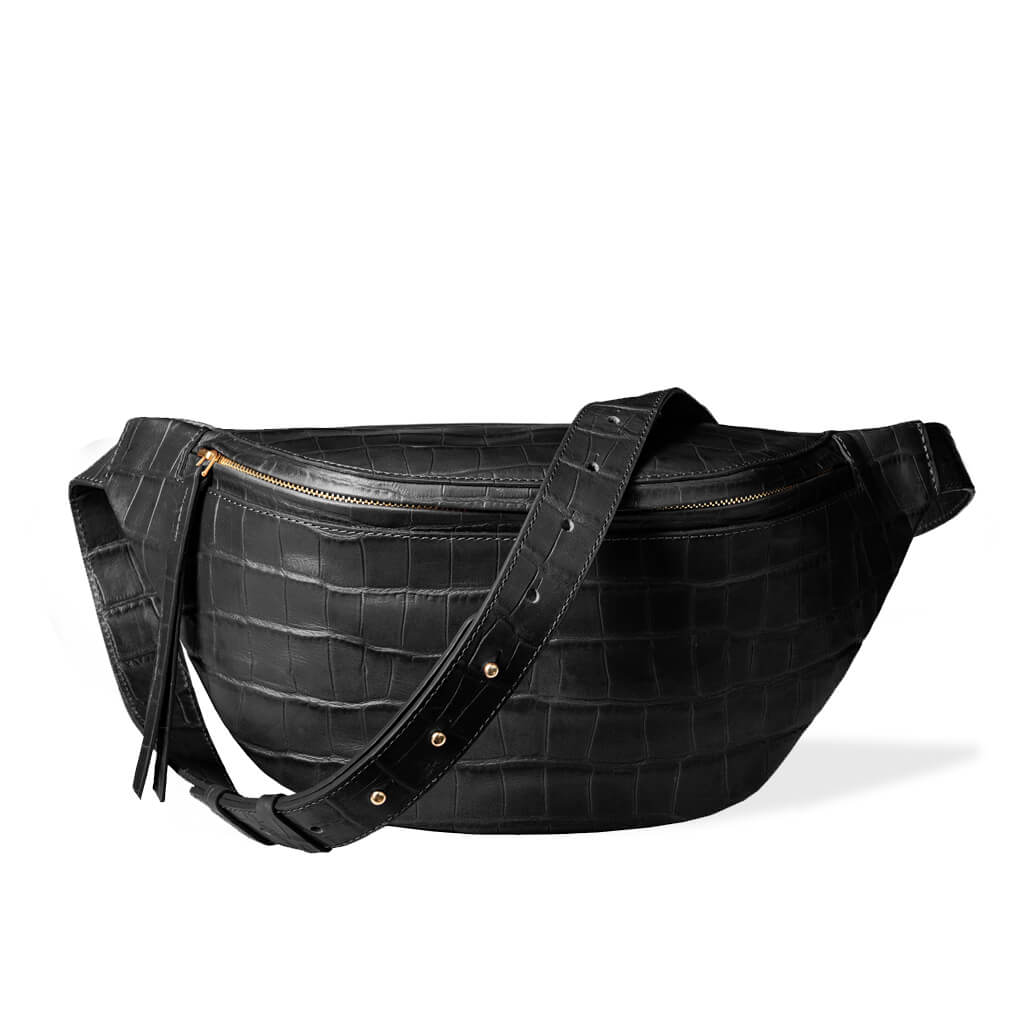 Fanny pack 'Niki' large black croco | gold