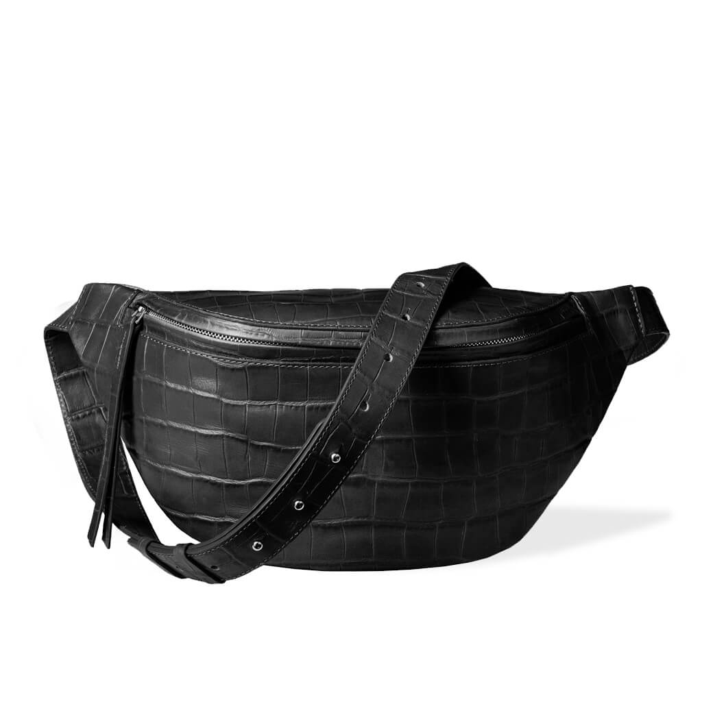 luxury large black leather women's fanny pack with crocodile print DAPHNY RAES