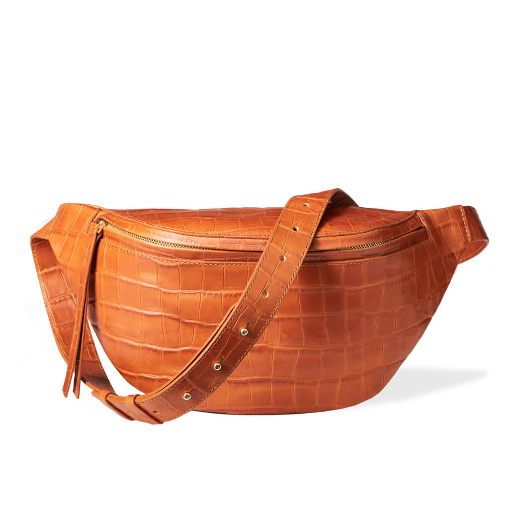 Oversized cognac leather bum bag with crocodile print DAPHNY RAES