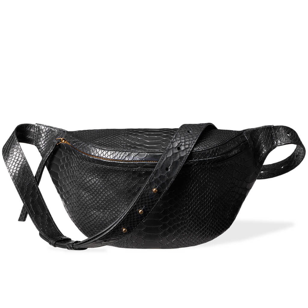 Fanny pack 'Niki' large black python | gold