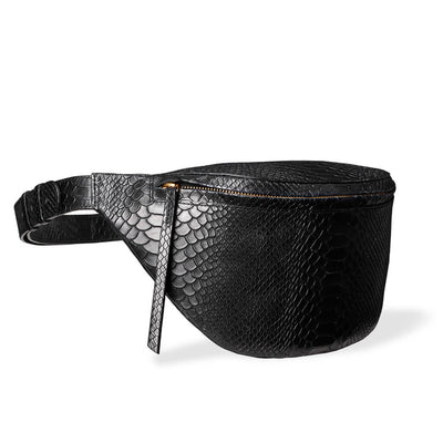 Oversized fanny pack woman with black python print leather DAPHNY RAES
