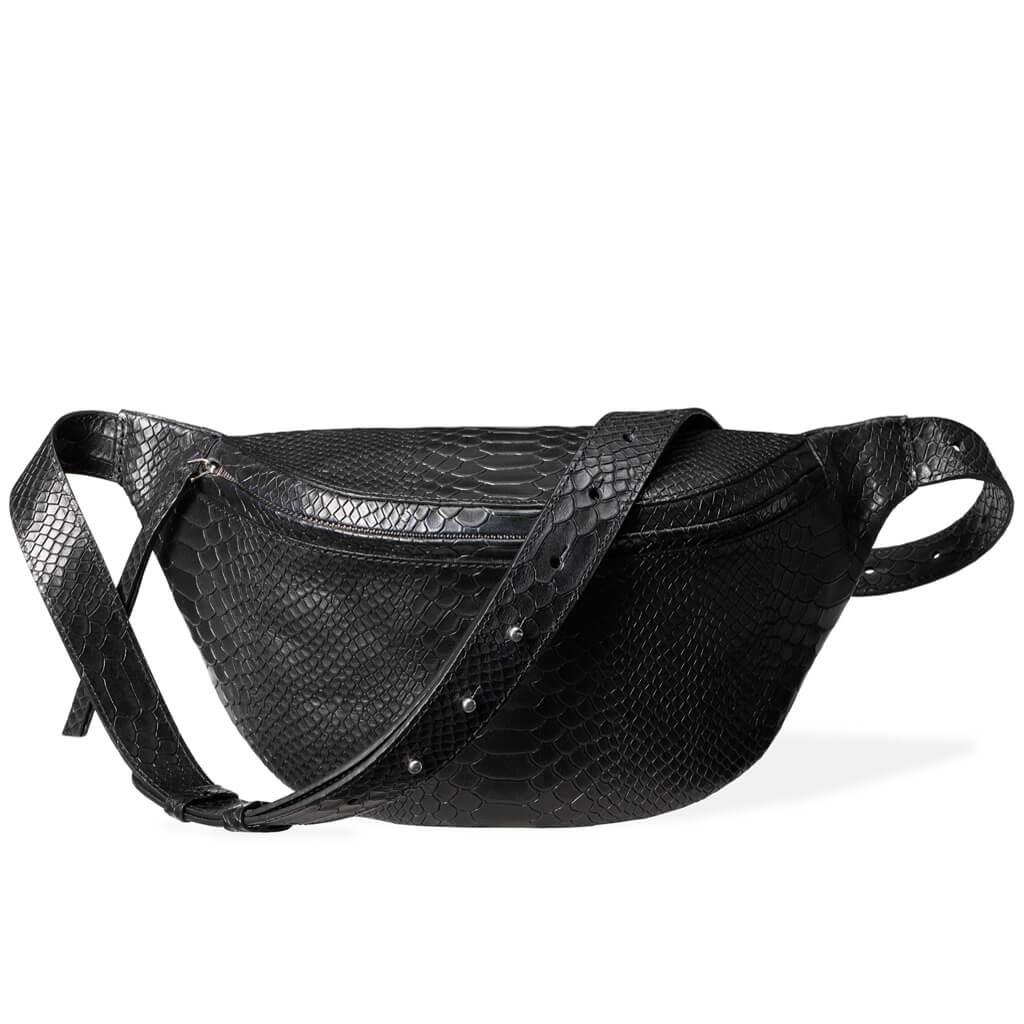 Large fanny pack black python vegetable tanned leather DAPHNY RAES