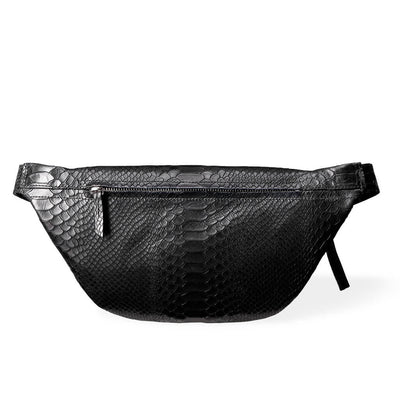 Zipper pocket in large fanny pack black python vegetable tanned leather DAPHNY RAES