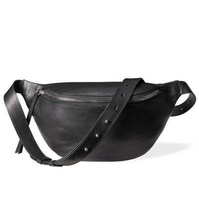Large fanny pack black vegetable tanned leather DAPHNY RAES