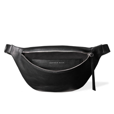 Soft lining of large black leather fanny pack with chunky zipper