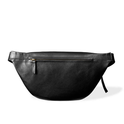 Zipper pocket of black leather women's fanny pack DAPHNY RAES