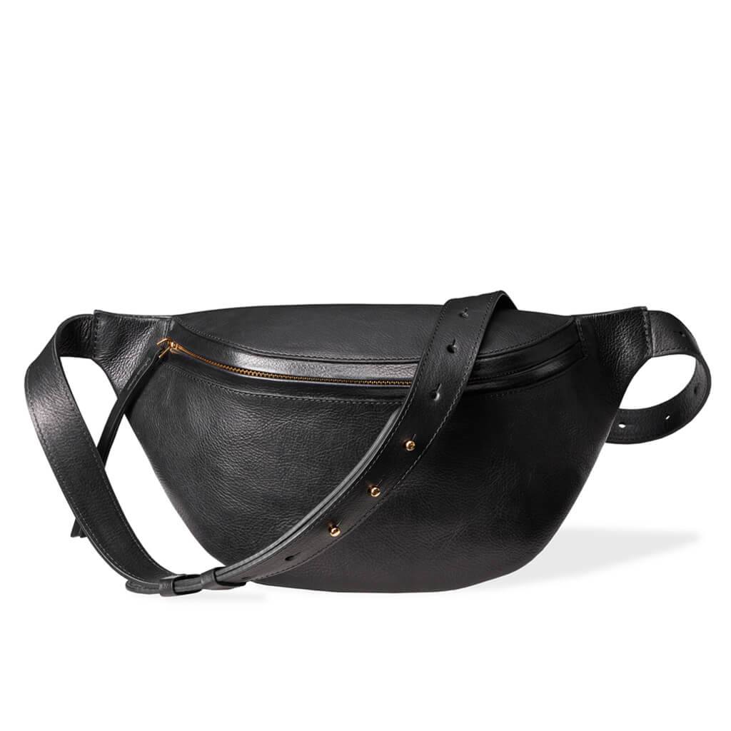 Large luxury black vegetable tanned leather women's fanny pack golden zipper DAPHNY RAES