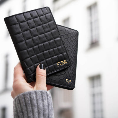 Personalized leather passport holder black crocodile print with monogram initials DAPHNY RAES