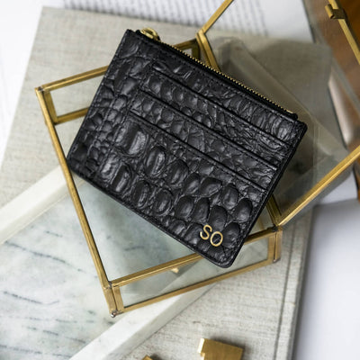 Personalized black leather card holder wallet black crocodile print DAPHNY RAES