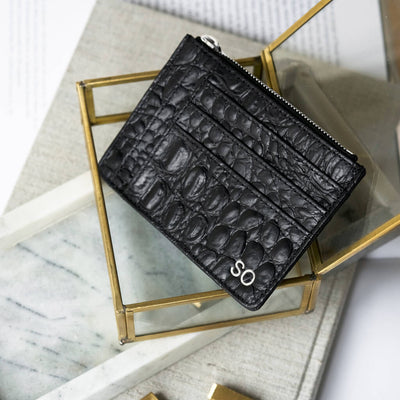 Personalized slim black croco print leather women's zipper wallet with initials DAPHNY RAES