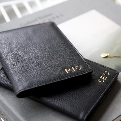 Personalized black leather passport cover with monogram DAPHNY RAES